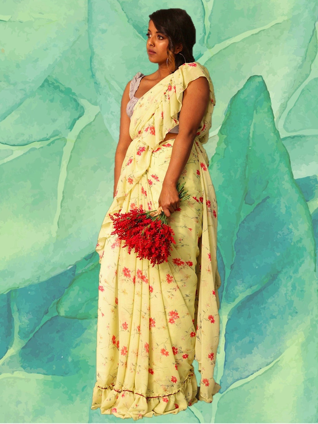 WILDFLOWER RUFFLE SAREE