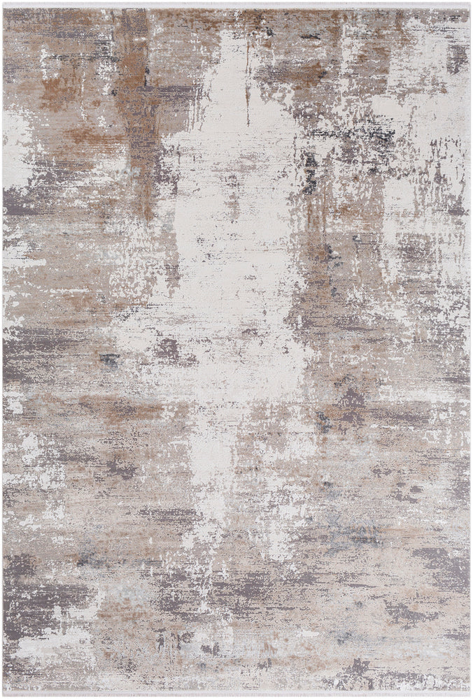 Stellar Taupe Grey White Area Rug Kerman Nain