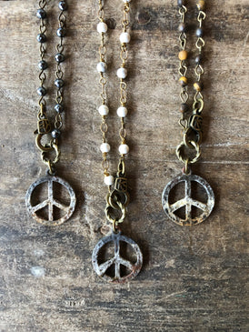 Rusty Peace Necklace