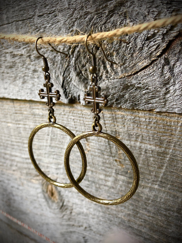 Rustic Cross Hoop Earrings