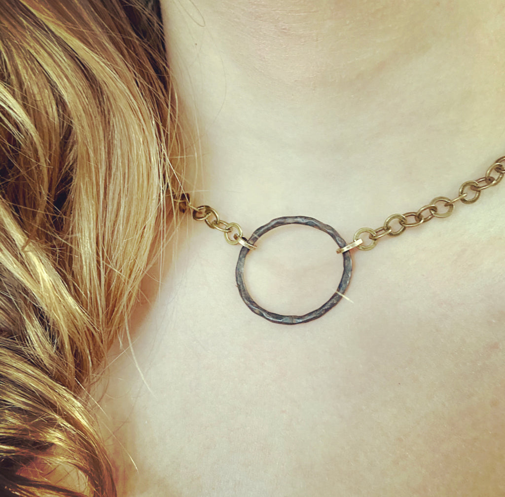 Rustic Hammered Circle Necklace