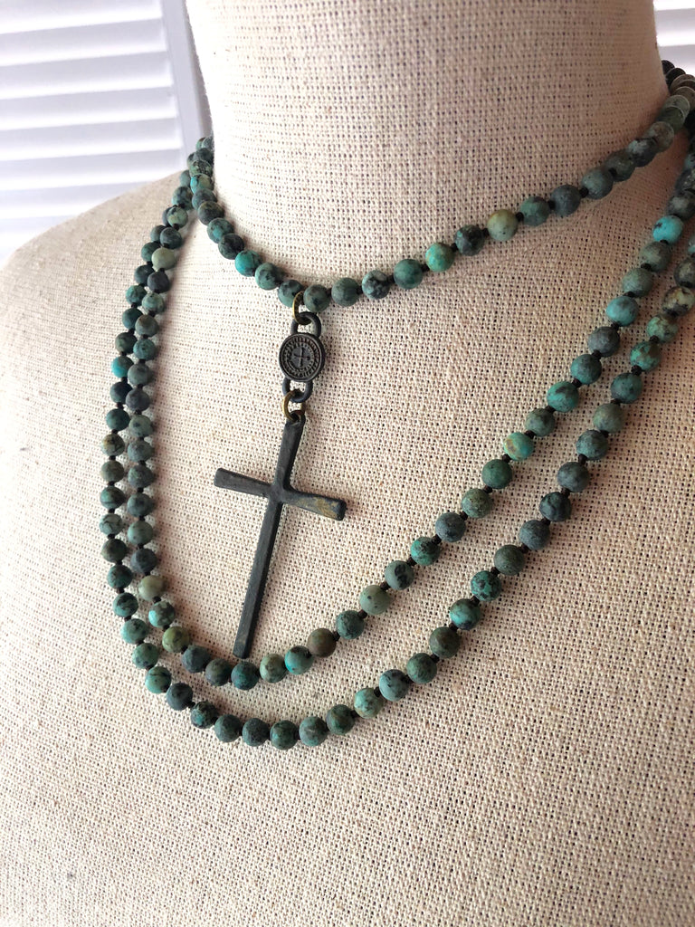Rustic Wrap Cross Necklace