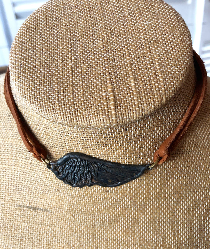 Rustic Wing Leather Choker