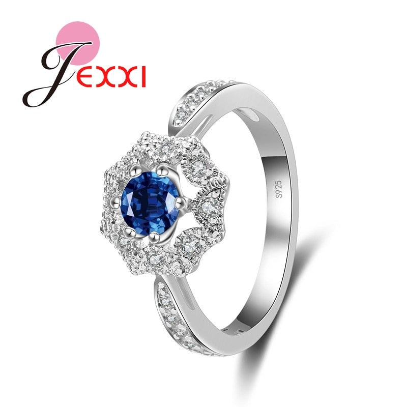 Charm Luxury Shiny Female Ring Cubic Zirconia 925 Sterling Silver