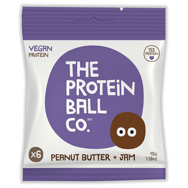 The Protein Ball Co Vegan Protein balls - Peanut Butter + Jam 45g (Pack of 10)