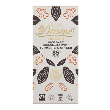 Divine Chocolate Org FTDark 85% Chocolate with Turmeric & Ginger 80g (Pack of 2)