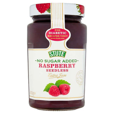 Stute No Sugar Added Raspberry Seedless Jam 430g (Pack of 2)