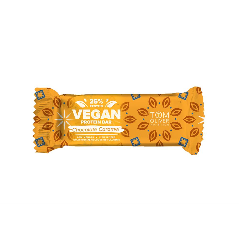 Tom Oliver Nutrition Vegan Choc Caramel  High Protein  Low Sugar Bar 55g (Pack of 2)