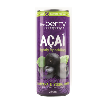 The Berry Company Sparking Acai juice with added yerba mate & guaranna 250ml (Pack of 4)