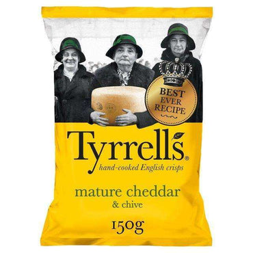Tyrrells Cheddar Cheese & Chive Crisps 150g(Pack of 6)