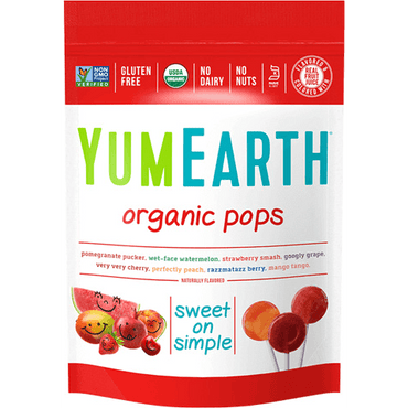 Yum Earth Organic Pops 14 Lolly Bag 85g (Pack of 6)