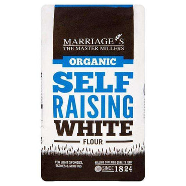 Marriages Organic White Self Raising Flour 1kg (Pack of 6)