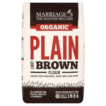 Marriages Organic Light Brown Plain Flour 1kg (Pack of 6)