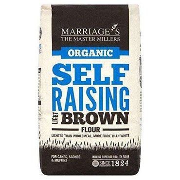 Marriages Organic Light Brown Self Raising Flour 1kg (Pack of 6)