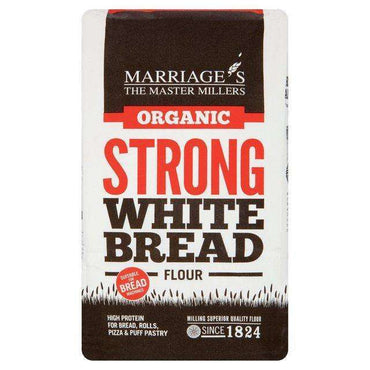 Marriages Organic Strong White Bread Flour 1kg (Pack of 6)