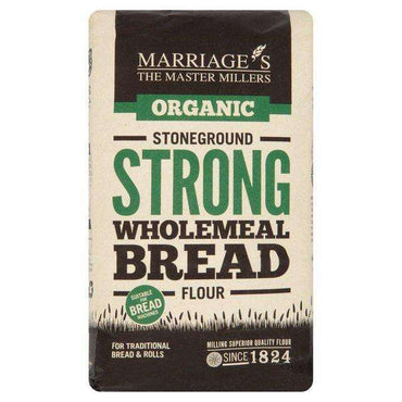 Marriages Organic Strong Stoneground Wholemeal Flour 1kg (Pack of 6)