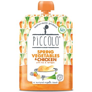 Piccolo Spring Vegetables & Chicken with Rice and Tarragon 130g (Pack of 7)