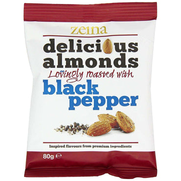 Zeina Black Pepper Almonds - 80g (Pack of 10)