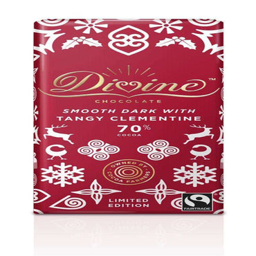 Divine Chocolate Fairtrade Divine 70% Dark Chocolate with Clementine 90g (Pack of 3)