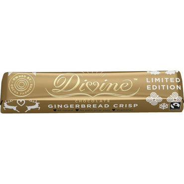 Divine Chocolate Milk Chocolate Gingerbread Crisp Bar 35g (Pack of 10)