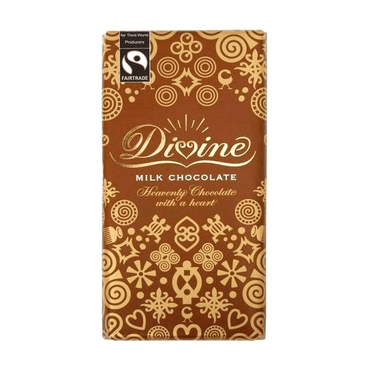 Divine Chocolate Fairtrade High Cocoa 45% Milk Chocolate Bar 45g (Pack of 3)