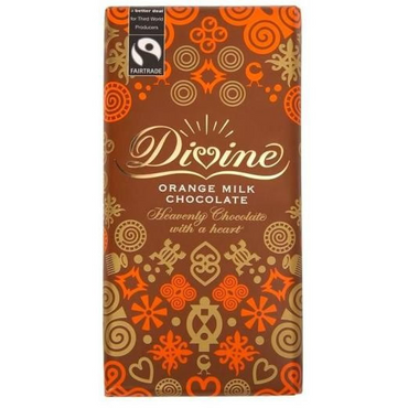 Divine Chocolate Orange Milk Chocolate 100g (Pack of 3)