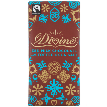 Divine Chocolate Milk Chocolate with Toffee & Sea Salt 100g (Pack of 3)