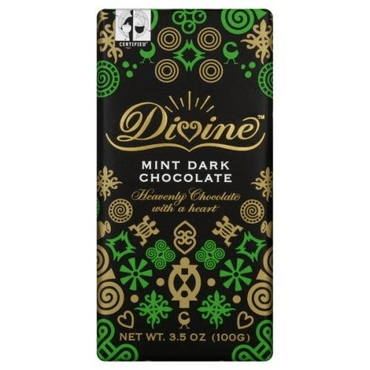 Divine Chocolate Mint Dark Chocolate 100g (Pack of 3)