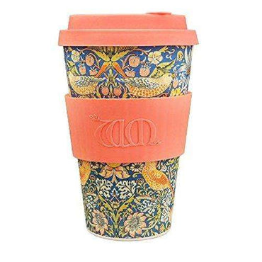 Ecoffee Cup William Morris Thief with Coral Silicone Coffee Cup 400ml