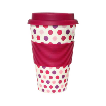 Ecoffee Cup Organic Bamboo Fibre Reusable Coffee Cup Pink Polka 400ml