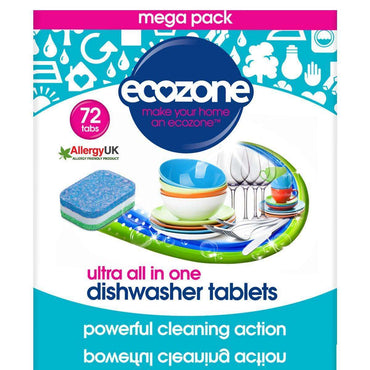 Ecozone All in one Ultra Dishwasher Tablets - 72 Tablets