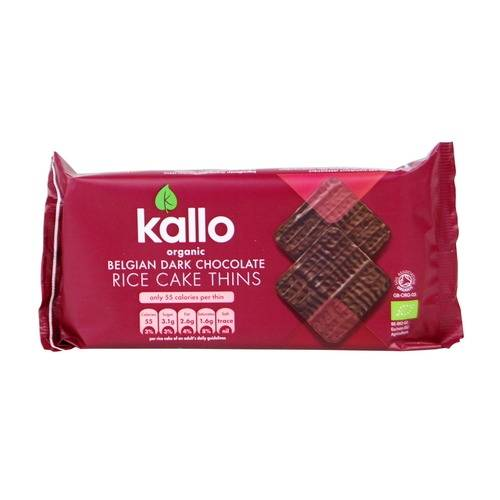 Kallo Organic Thin Slice Dark Chocolate Rice Cakes 90g