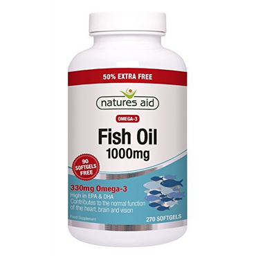 Natures Aid Fish Oil - 1000mg (Omega-3 Rich) 180 Caps