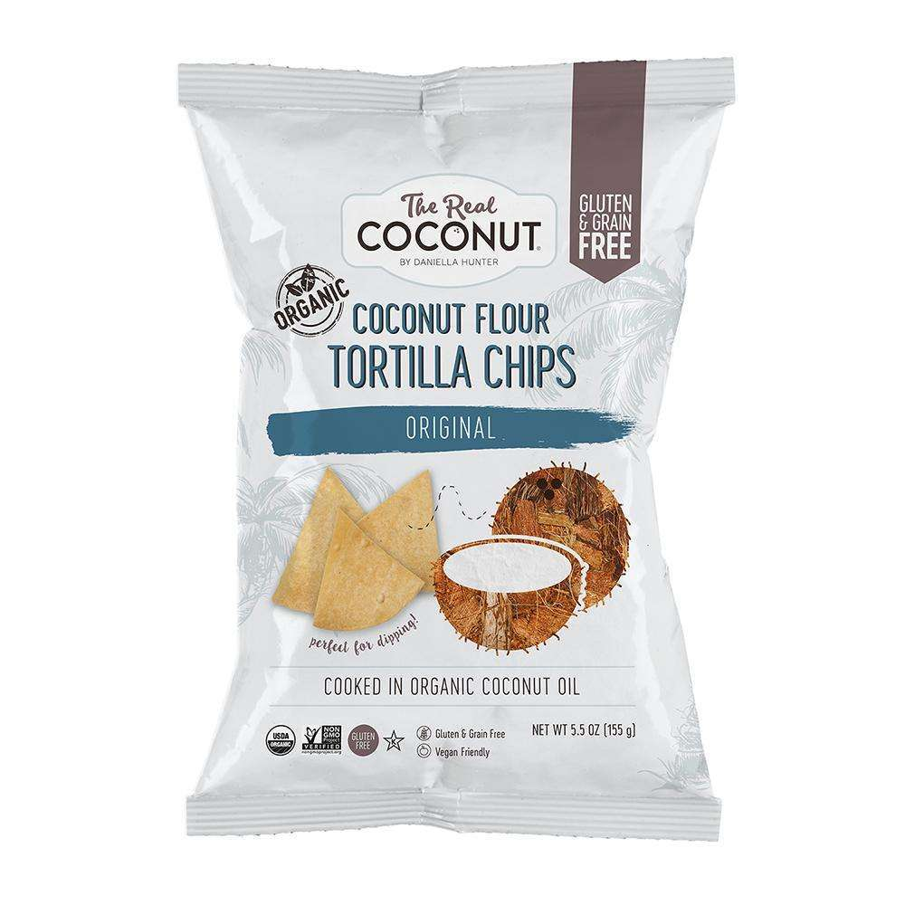 The Real Coconut Organic Coconut Flour Tortilla Chips Original 155g