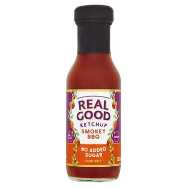Real Good Ketchup Real Good Smokey BBQ Ketchup No added sugar  low salt 285g glass