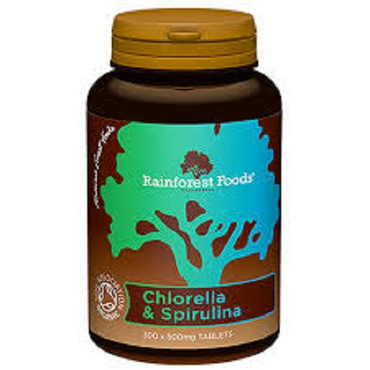 Rainforest Foods Organic Chlorella & Spirulina 500mg 300 Tablets