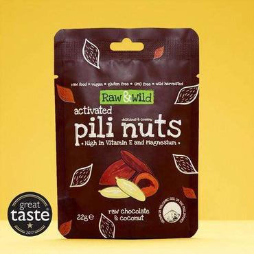 Raw & Wild Organic Activated Pili Nuts Snack Pack - Raw Choc & Coconut (22g)