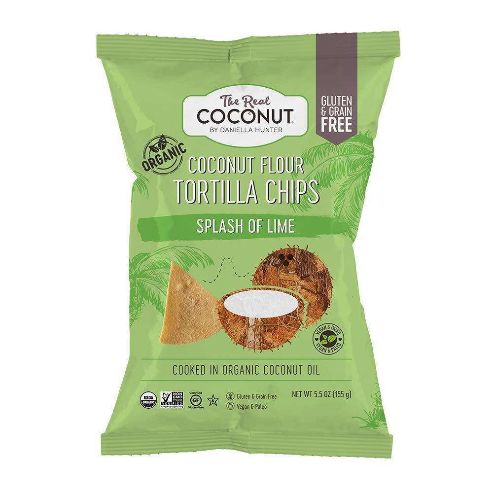The Real Coconut Organic Coconut Flour Tortilla Chips A Splash of Lime 155g