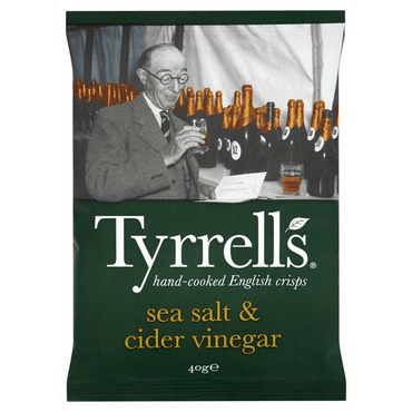 Tyrrells Sea Salt & Cider Vinegar Crisps 40g(Pack of 6)