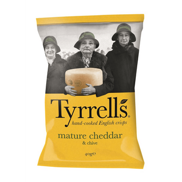 Tyrrells Cheddar Cheese & Chive Crisps 40g(Pack of 6)