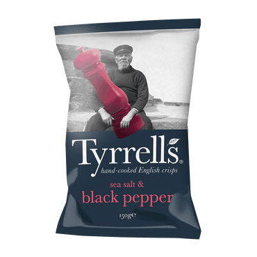 Tyrrells Sea Salt & Black Pepper Crisps 150g(Pack of 6)
