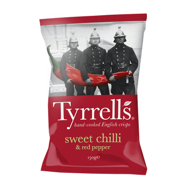 Tyrrells Sweet Chilli & Red Pepper Crisps 150g(Pack of 6)