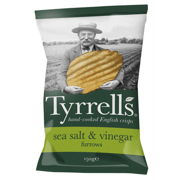 Tyrrells Furrows Sea Salt & Vinegar Crisps 150g(Pack of 6)