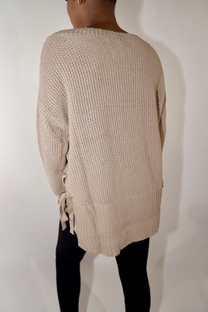 High Low Taupe Knit Sweater