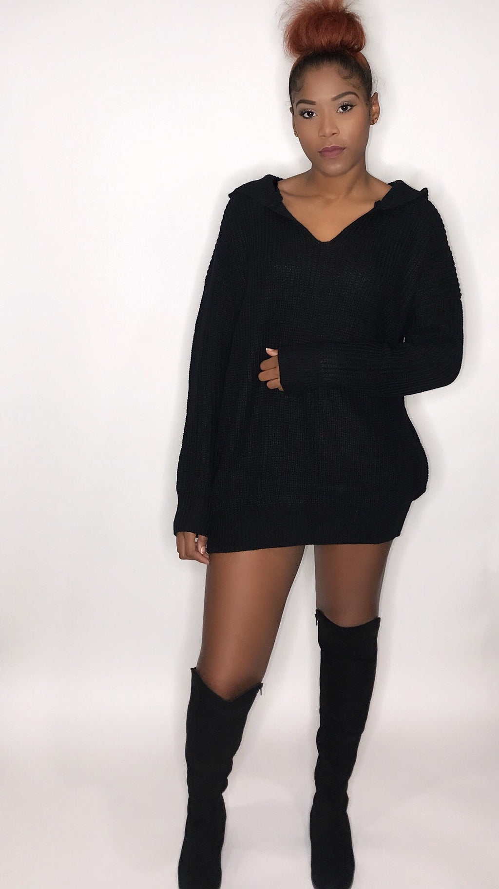 Up To No Hood Black Knit Sweater