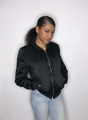 Sky's The Limit Black Bomber Jacket