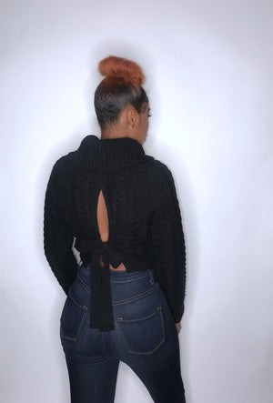 Back At It Cropped Black Sweater