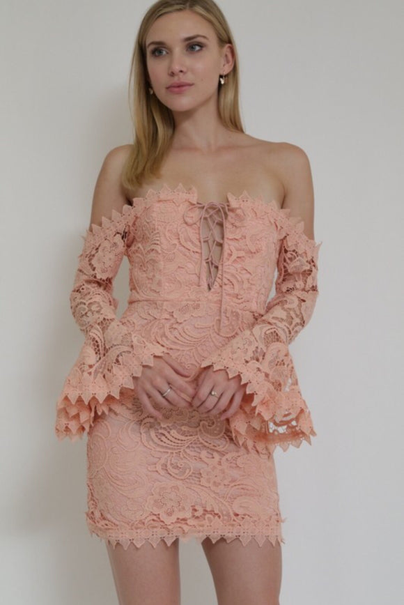 Love Me Or Lace Me Off Shoulder Dress