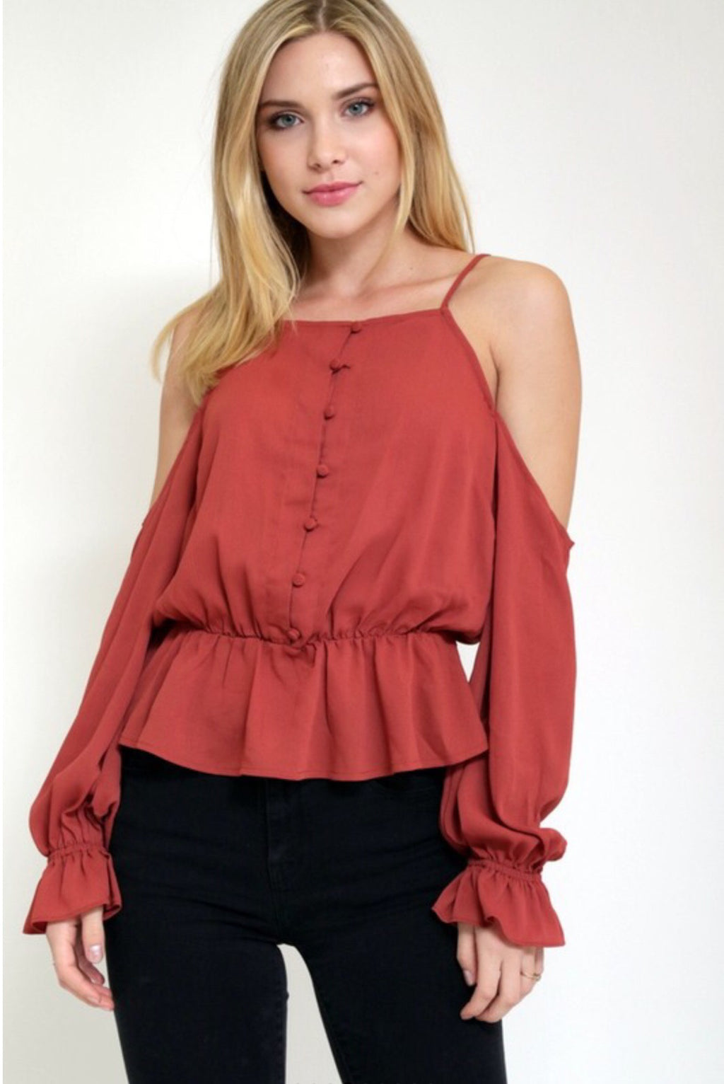 Shoulder Show Off Peplum Top