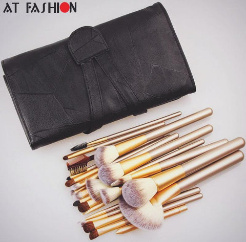 Professional 24pcs Makeup Brushes Set W/ Leather Case